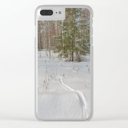 Fox tracks in snowy forest Clear iPhone Case