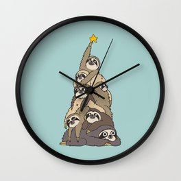 Christmas Tree  Sloths Wall Clock