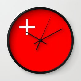 Schwyz region switzerland country flag swiss Wall Clock
