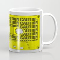 tape Mugs featuring Caution Tape by Resistance