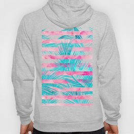 Modern pink turquoise tropical palm tree watercolor stripes pattern Hoody