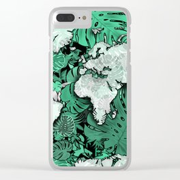 world map tropical leaves 3 Clear iPhone Case