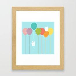 Fluffy bunnies and the rainbow balloons Framed Art Print