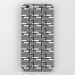 Art Deo Black and White Rectangle and Square Pattern iPhone Skin