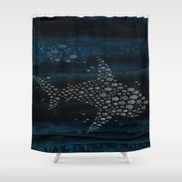 shark Shower Curtains featuring Shark! by Claudine Gevry