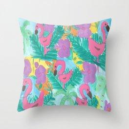 Tropical Flamingo Jungle Throw Pillow