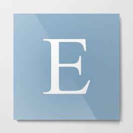 Letter E sign on placid blue color background Metal Print