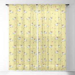 Cute Dachshund Unicorn + Hearts Pattern (Yellow) Sheer Curtain