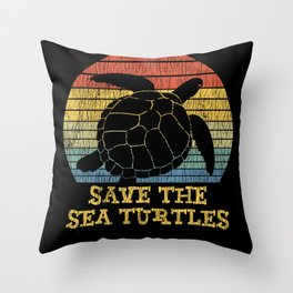 Vintage Save The Sea Turtles Animal Right Turtle Throw Pillow