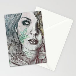 Wake: Summer | maple leaves tattoo woman portrait Stationery Cards