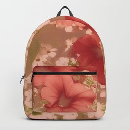 Red Petunias With Sweet White Flowers Backpack