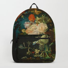 Still Life with Flowers and Fruit by Jan van Huysum (1749) Backpack