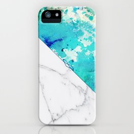 Teal watercolor paint splatters white marble iPhone Case