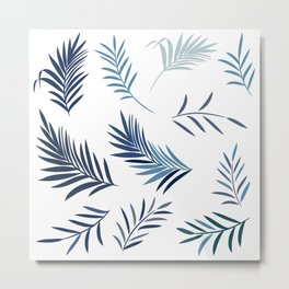 Elegant palm leaves in blue color, summer tropical theme Metal Print