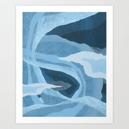 Shapes and Layers no.24 - abstract painting in blues Art Print