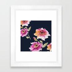 Dhalia -navy Framed Art Print