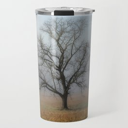 In a Fog - Single Tree on Foggy Morning in the Great Smoky Mountains Travel Mug