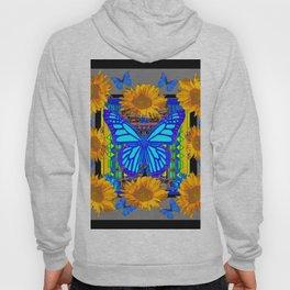 Black Grey Sunflowers Blue Butterflies Pattern Hoody