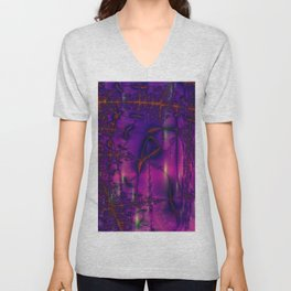 purple blue rendering pattern Unisex V-Neck