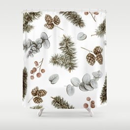 Retro Cozy Winter Cabin Water-colour Pattern Shower Curtain