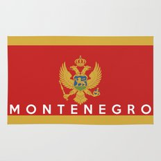 Montenegro country flag name text Rug