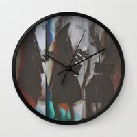 twins Wall Clocks featuring Twins by Jane Lacey Smith