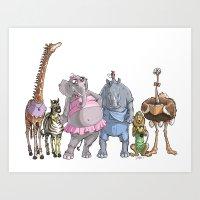 animal crew Art Prints featuring Animal Mural Crew by Michael Jared DiMotta Illustrations
