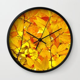 Indian Summer - Yellow Autumn Fall Leaves Wall Clock