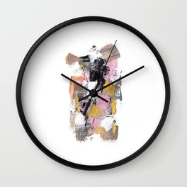 Modern abstract acrylic paint pink black gold salmon brushstrokes part 2 Wall Clock