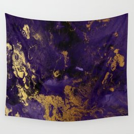 Modern Purple and Gold Watercolor Abstract Wall Tapestry
