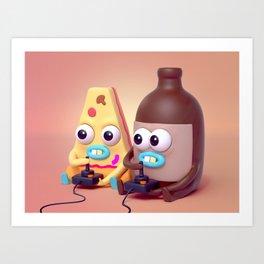 """BFFLs """"Pizza & Beer"""" 🍕🍺💕 Art Print"""