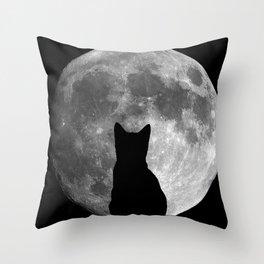Moon Cat Throw Pillow