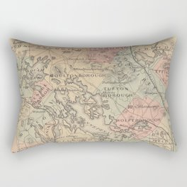 Vintage Map of The NH Lakes Region (1890) Rectangular Pillow