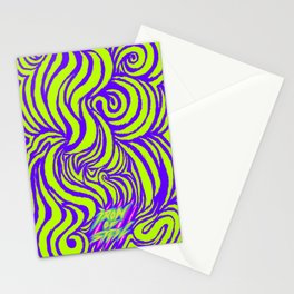 IRON of STEEL green on purple Stationery Cards