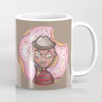 freddy krueger Mugs featuring Freddy Doughnut by ajd.abelita