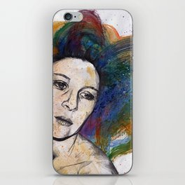 Crystal (street art female portrait with rainbow hair) iPhone Skin