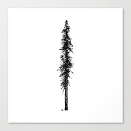 Love in the forest - a couple and their dog under a solitary, towering Douglas Fir tree Canvas Print
