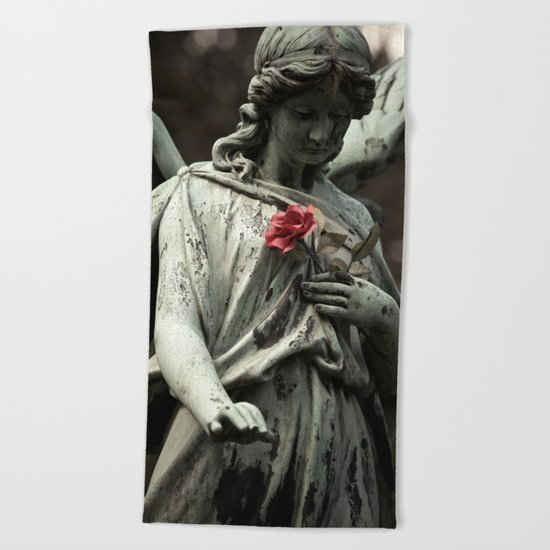 Angel with a rose Beach Towel