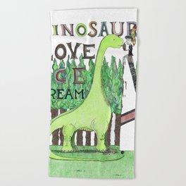 Dinosaurs Love Ice Cream Beach Towel