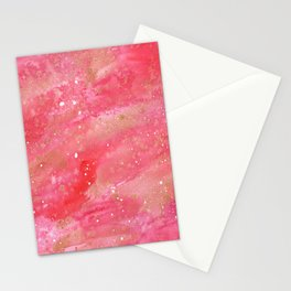 Abstract Watercolor red and gold Stationery Cards