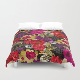 Flowers with Lace and Dots 2 Duvet Cover