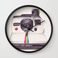 pen Wall Clocks featuring Ballpoint Pen Polaroid by One Curious Chip