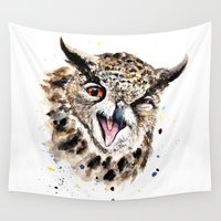 owl Wall Tapestries featuring Owl by Anna Shell