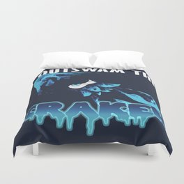 I Outswam The Kraken (Blue) Duvet Cover