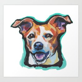 Fun Jack Russell Terrier Portrait bright colorful Dog  Pop Art by LEA Art Print