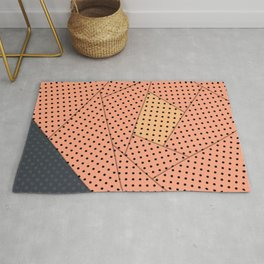 Coral abstract flower modern polka dot Rug