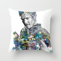 daryl dixon Throw Pillows featuring Daryl Dixon by NKlein Design