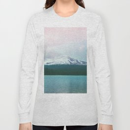 Mountain Lake - Nature Photography - Turquoise Teal Pink Long Sleeve T-shirt