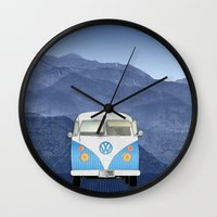 volkswagen Wall Clocks featuring Volkswagen Bus by Aquamarine Studio