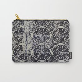 Navy Block Print Pattern Carry-All Pouch